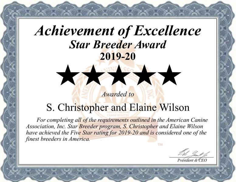 S. Christopher and Eleaine Wilson Dog Breeder Cert